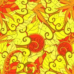 Tracery seamless calming pattern. Mehendi design. Ethnic yellow harmonious doodle texture. Indifferent discreet. Curved doodling mehndi motif. Vector.