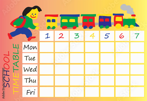 school Timetable For Kids Stock Image And Royalty free