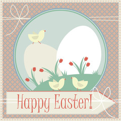 Happy easter greeting card with cute chickens, eggs and tulips