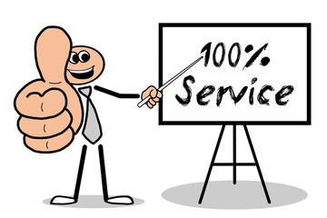 100% Service Mann hält Daumen hoch