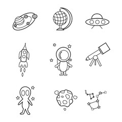 linear space icons for design