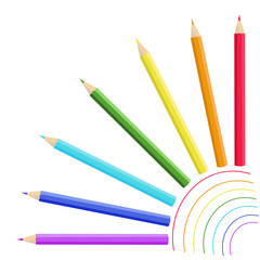Colored pencils with rainbow lines