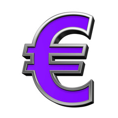Euro sign from violet with silver frame alphabet set, isolated on white. 3D illustration.