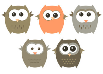 Vector set of cute owls.