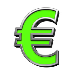 Euro sign from green with silver frame alphabet set, isolated on white. 3D illustration.
