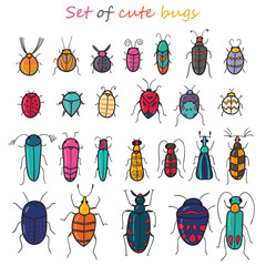 Set of 25 cute color cartoon insects in vector. Bugs doodle