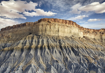 bottom view of a blue rocky cliff in Utah