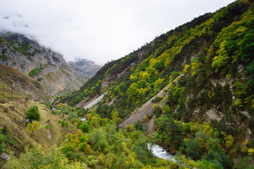 Beautiful view of mountain river in autumn, Russia