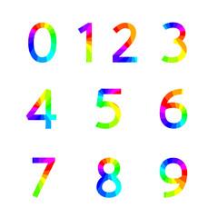 Rainbow numbers, vector illustration.