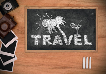 Blackboard with drawing travel concept