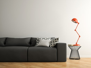 Part of interior with grey sofa and red lamp 3D rendering