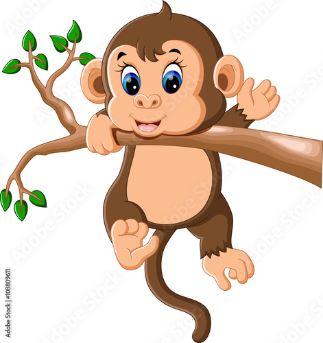 illustration of cute cartoon monkey stock image and royalty free