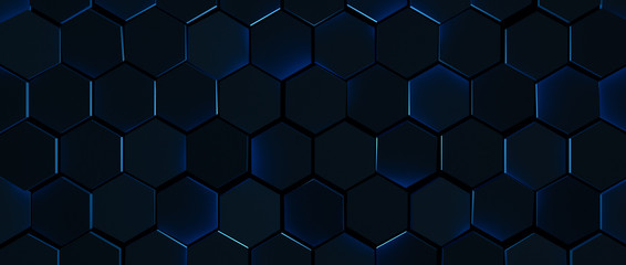 Dark Glowing Blue Hexagon Background