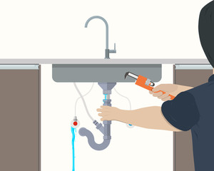 Plumber repairing leaking pipe under the kitchen sink. Vector illustration
