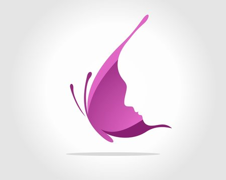Face Inside Purple Butterfly Wing