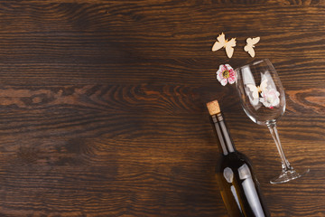 Wineglass on the wooden background