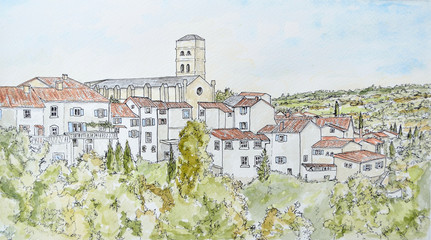 Ink and Watercolour painting of Montolieu Languedoc-Roussillon France. Chuch and Houses.