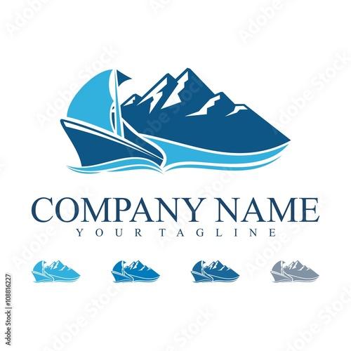 quotship logo traditional ship logo vector mountain logo