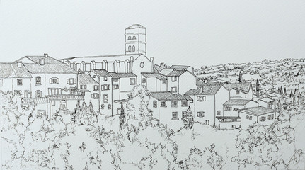 Ink line drawing of Montolieu Languedoc-Roussillon France.