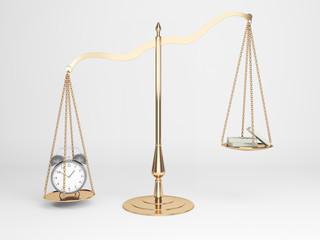 Justice scales alarm cash