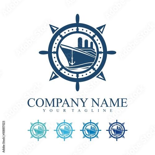 quotship logo compass ships wheel anchor design logo