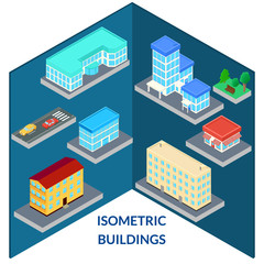 vector illustration. set of icons of the city's buildings - house, shop, hospital, road, car, tree, bench. infographics, isometric