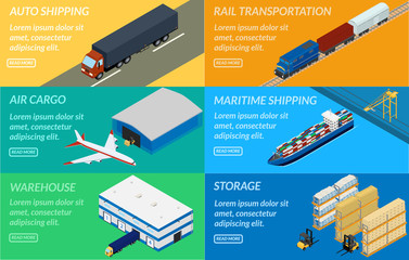 vector illustration. web banners set of logistics chain. Delivery by truck, airplane, ship, freight train. Warehouse, forklift. isometric, infographic