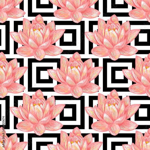 Seamless Floral Pattern Background With Tropical Pink Lotus Flower Vector Perfect For Wallpapers