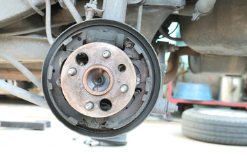 Front disc brake repairing in garage