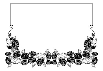 Vintage horizontal floral frame with roses silhouette. Black and white vector design element for advertisements, flyer, web, wedding and other invitations or greeting cards.