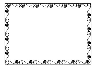 Vintage horizontal floral silhouette frame. Black and white vector design element for advertisements, flyer, web, wedding and other invitations or greeting cards.