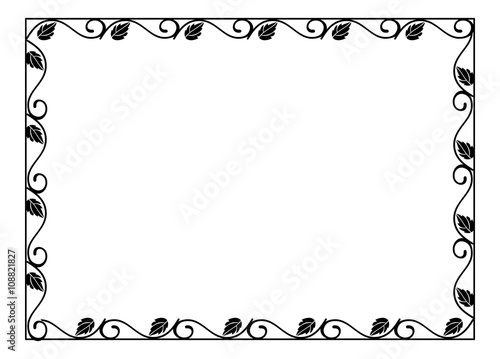 Vintage horizontal floral silhouette frame. Black and white vector ...