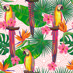 Seamless jungle pattern with parrot exotic bird, palm leaves, tropical hibiscus flower vector background. Perfect for wallpapers, pattern fills, web page backgrounds, surface textures, textile
