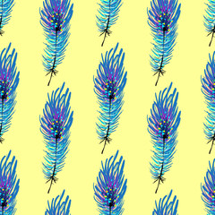 Feather seamless pattern background. Endless colorful texture vector background. Perfect for wallpapers, pattern fills, web page backgrounds, surface textures, textile