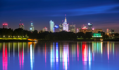 View of downtown Warsaw from the Vistula night
