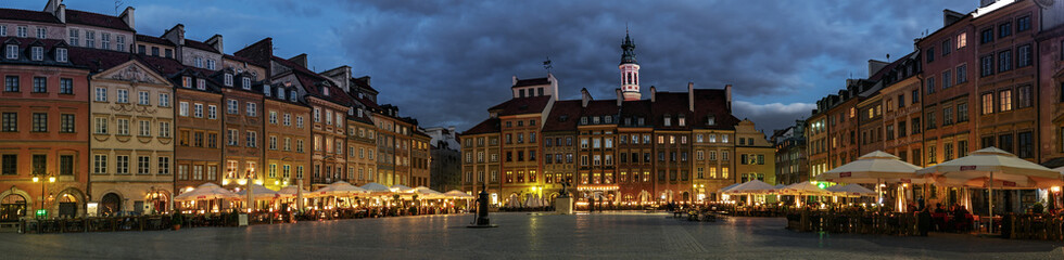 Panorama of the Old Town Square in Warsaw at night