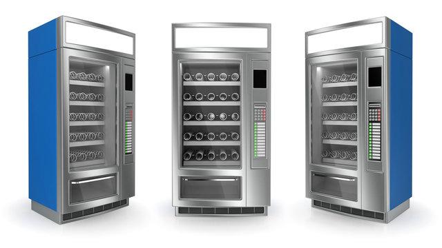 Vending machine set on white background. 3d render