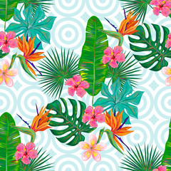 Seamless summer pattern with tropical exotic flowers and palm and banana leaves vector background. Perfect for wallpapers, pattern fills, web page backgrounds, surface textures, textile
