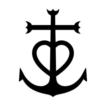 Camargue cross anchored heart symbol flat icon