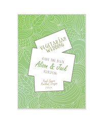Creative template for vegetarian wedding invitations. Beautiful green doodle pattern as a background. Fresh eco concept.