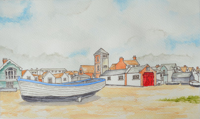 Ink and Watercolor of Aldeburgh beach Suffolk England with boat and tower