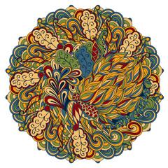 Mehndi mandala tracery wheel design. Handmade natural mood texture. Paisley, winding stem, bud mehndi doodle. Curved lines, doodling design. Good for plates, dish, tableware.
