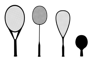 silhouettes of racquet sports - rackets for tennis, table tennis, badminton and squash