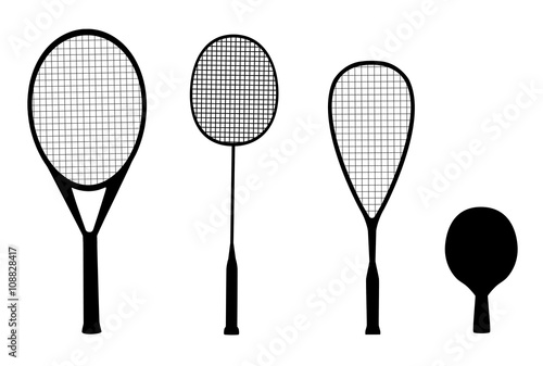 Silhouettes Of Racquet Sports Rackets For Tennis Table Badminton And Squash