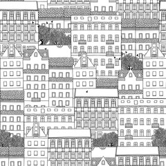 Hand drawn seamless pattern of German style houses