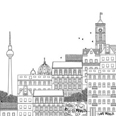 Hand drawn black and white illustration of Berlin