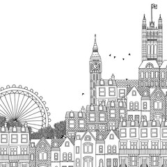 Hand drawn black and white illustration of London