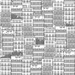 Hand drawn seamless pattern of French style houses