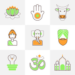Flat line icons set of India