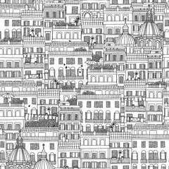 Hand drawn seamless pattern of Italian style houses